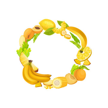 Yellow wreath of fresh vegetables and fruits. Vector illustration on white background.