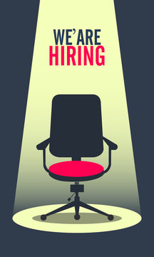 We are Hiring Poster or Banner Design. Job Vacancy Advertisement Concept background. - Vector