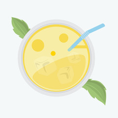 Lemonade in a glass with ice and mint - Vector illustration of a refreshing drink view on top