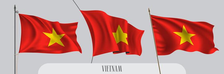 Fototapeta Set of Vietnam waving flag on isolated background vector illustration obraz