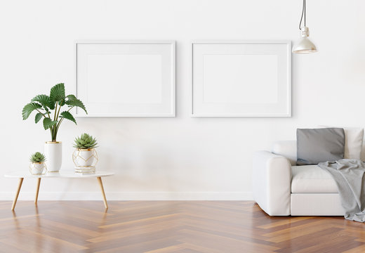 Two horizotnal frames hanging in modern living room Mockup 3D rendering