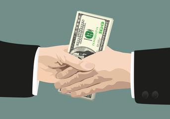 Concept de la corruption dans le milieu des affaires et de la politique avec le symbole d'une poignée de main tenant un billet de banque de 100 dollars.