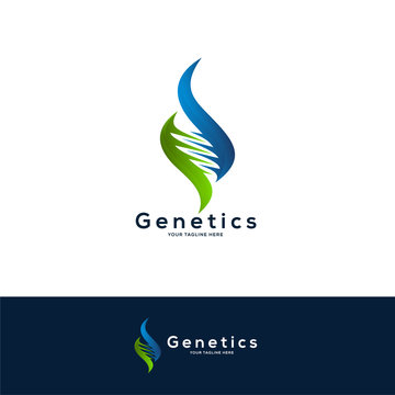 DNA logo designs concept, science and medicine creative symbol, DNA logo design