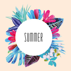 Wall Mural - Summer floral round print