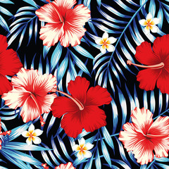Wall Mural - hibiscus red and palm leaves blue seamless background