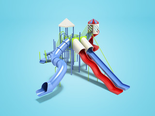 Modern blue playground for children for water games 3d renderer on blue background with shadow