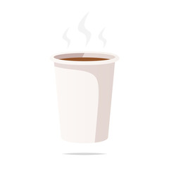 Hot coffee in disposable cup vector isolated