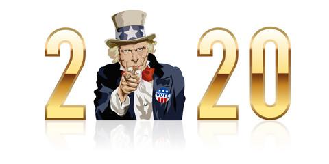 Concept de l'élection du président des états-Unis en 2020 avec comme symbole l'Oncle Sam, icône américaine.