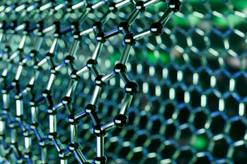 Graphene molecular nano technology structure on a green background - 3d rendering Wall mural