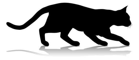A silhouette cat pet animal detailed graphic