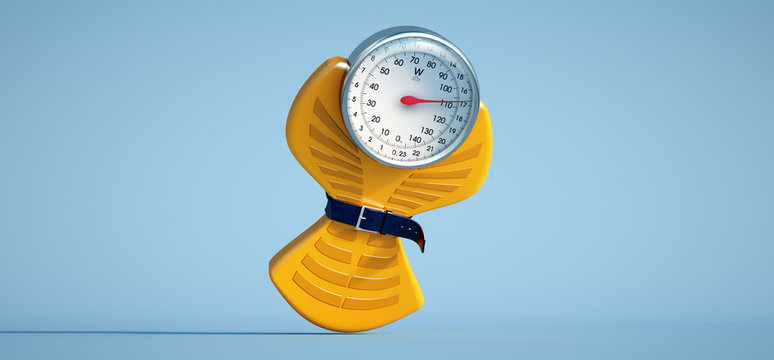 Weight scale diet yellow blue