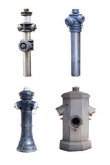 four old street fire hydrants to extinguish a fire isolated on white background