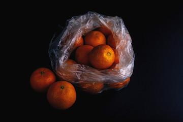 environmental concept. Polyethylene packaging hazard to the environment. Cellophane grocery bag.