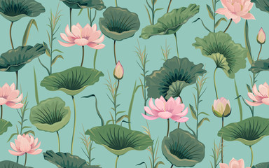 Seamless pattern with pink lotus and reeds Fototapete