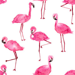 Tuinposter Flamingo watercolor pink flamingos. hand drawn seamless pattern on a white background