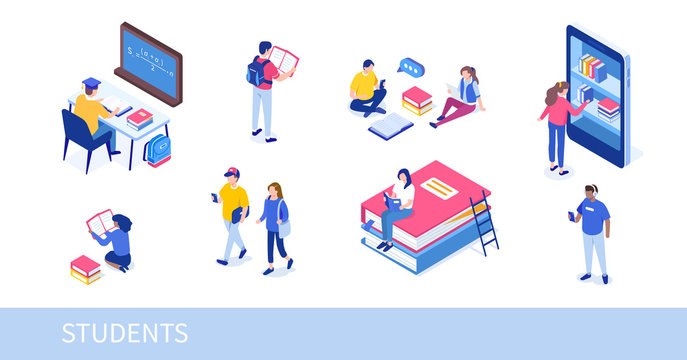 Different college students studying. Can use for web banner, infographics, hero images. Flat isometric vector illustration isolated on white background.