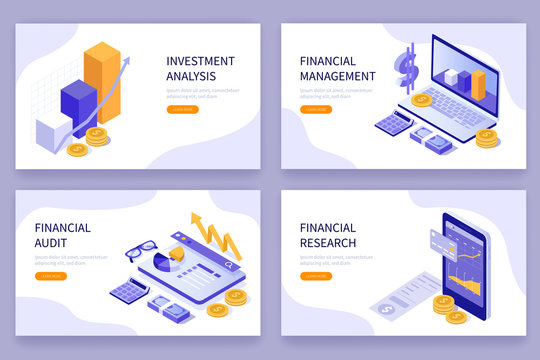 Financial concept banners. Can use for infographics, hero images. Flat isometric vector illustration isolated on white background.