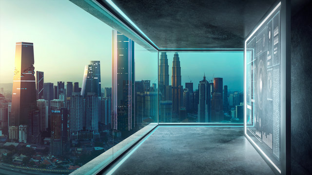 Empty loft contemporary interior office with virtual 3d holographic interface screens  and modern cityscape from glass window .