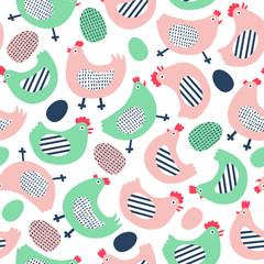 Funny chicken seamless pattern.