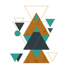 Abstract geometric composition with decorative triangles.Abstract golden geometric isometric background, can be used for template, poster, backdrop, book cover, brochure, leaflet, vector