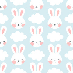 Rabbit and chick Seamless Pattern Background, Scandinavian Happy bunny with cloud, easter. cartoon rabbit vector illustration for kids nordic background
