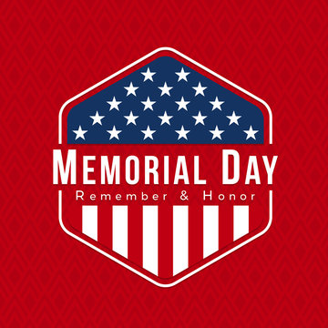 Memorial day for usa banner with vintage usa flag sign in Hexagon on red texture background vector design