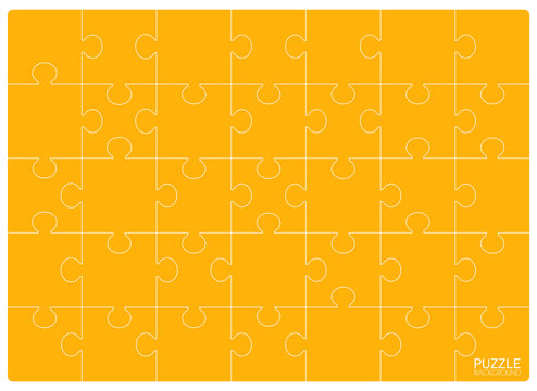 Yellow Puzzles grid template. Jigsaw puzzle 24 pieces, thinking game and 6x4 jigsaws detail frame design. Business assemble metaphor or puzzles game challenge vector illustration. Puzzle background