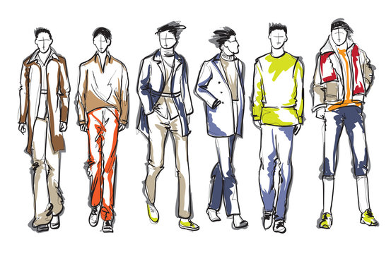 Stylish handsome mans in fashion clothes. Hand drawn beautiful young mens. Stylish mens. Fashion mens sketch. Fashion men model.