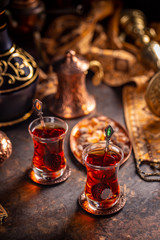 Turkish tea in a traditional cups