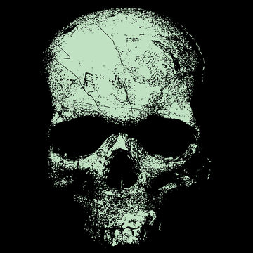 Vector image of a skull in an engraving style, a pragmatic sketch, bones, death, Halloween, horror, fear, anotomy, tattoo, shading,