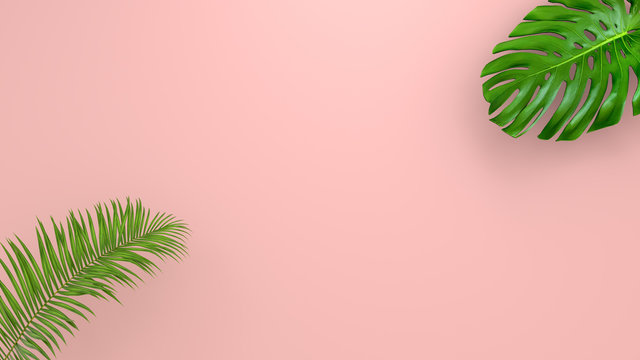 Realistic palm leaves on Coral Living background for cosmetic ad or fashion illustration. Tropical frame exotic banana palm. Sale banner design. 3D render