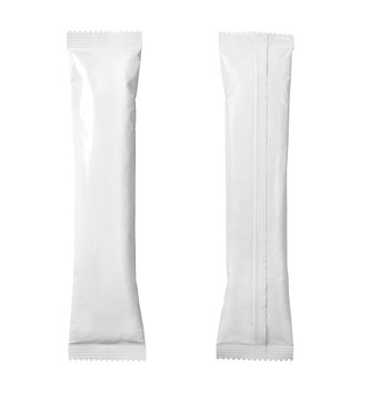 White blank sachet packaging isolated on white background with clipping path. Packaging for sugar, sweets, coffee and other products.