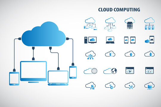 "Cloud computing - Devices connected to the ""cloud"". EPS10 vector."