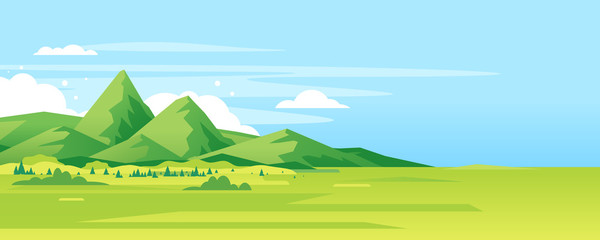Fond de hotte en verre imprimé Piscine High green mountain in sunny day with spruce forest and blue sky in simple geometric form, nature tourism landscape background, travel mountains adventure illustration