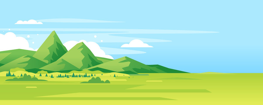 High green mountain in sunny day with spruce forest and blue sky in simple geometric form, nature tourism landscape background, travel mountains adventure illustration