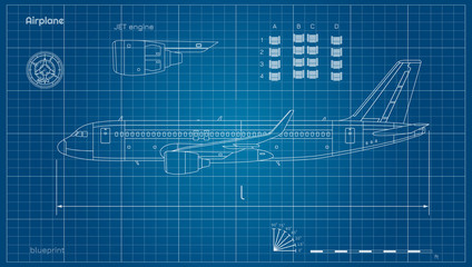 Aircraft in outline style. Blueprint of civil plane. Side view of airplane. Industrial drawing. Jet engine on blue background