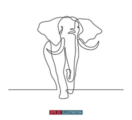 Continuous line drawing of elephant. Template for your design works. Vector illustration.