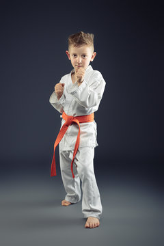 portrait of a child with kimono practicing martial arts
