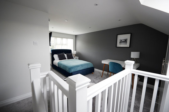 Interior of a house, loft conversion bedroom