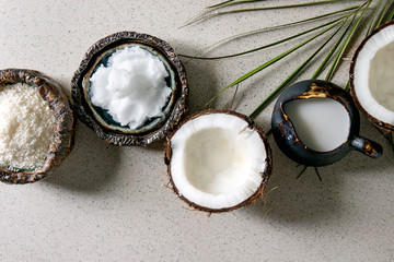 Variety of coconut products milk in jug, oil and flakes in ceramic bowls, fresh broken coconut on grey spotted background. Healthy eating. Flat lay, space