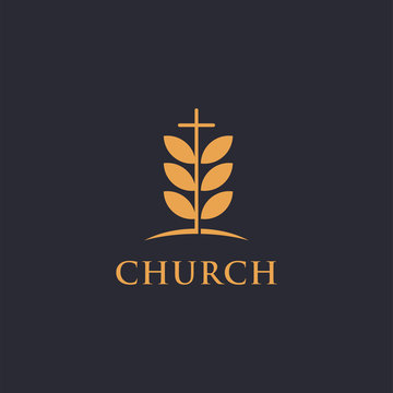 Tree leaf and cross of cruch logo icon vector template on dark background