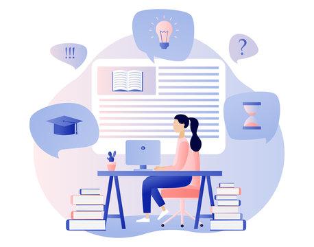 Online Education. Flat cartoon style. Vector illustration