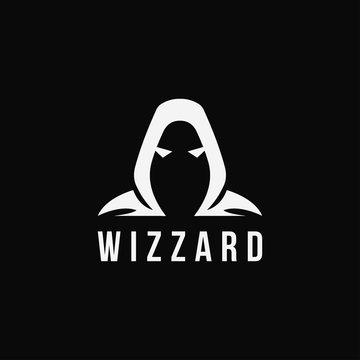 Minimalist wizard logo icon vector template on black background