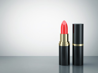 Red lipstick on reflective surface Wall mural