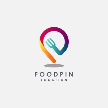 Fork and map pin logo, modern creative restaurant logo icon vector template on white background
