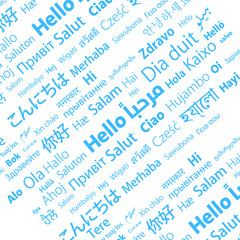Hello word typography most of world languages, - Vector