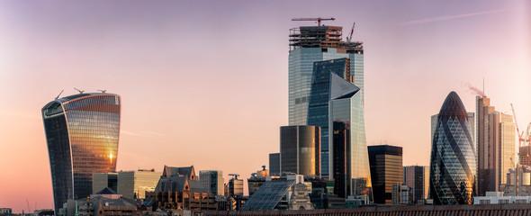 Fotomurales - Die Skyline der City von London mit den zahlreichen Wolkenkratzern und markanter Architektur bei Sonnenaufgang