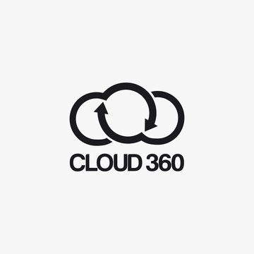 Cloud 360 degree logo icon vector template on white background