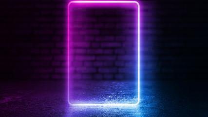 Empty disco scene background, old brick wall. Neon square figure in the center of the scene. Neon light smoke. Dark abstract futuristic background