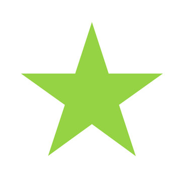 green star basic simple shapes isolated on white background, geometric star icon, 2d shape symbol star, clip art geometric star shape for kids learning